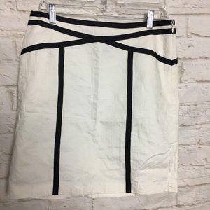 Ann Taylor White Black Pencil Skirt size 8